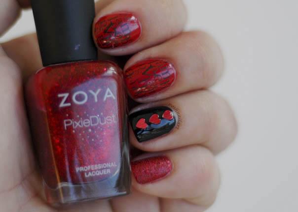 Red Valentine Stamped Nails