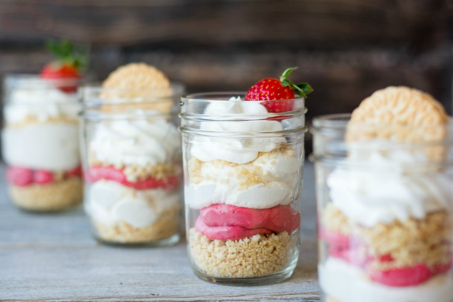 Mini Red Velvet Cheesecakes- mason jar