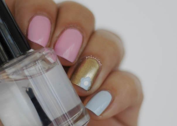 Pink Blue Gold Nail Art | Flower