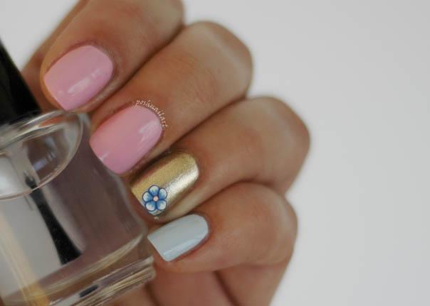 Spring Manicure | Pink Blue Gold