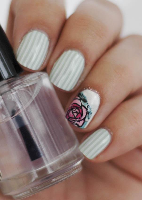 Nail Art | Stripes and roses