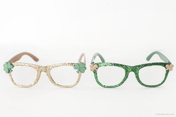 st patricks day glitter glasses