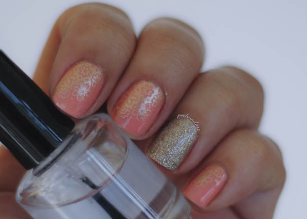 Prom Nails | Peach and Gold