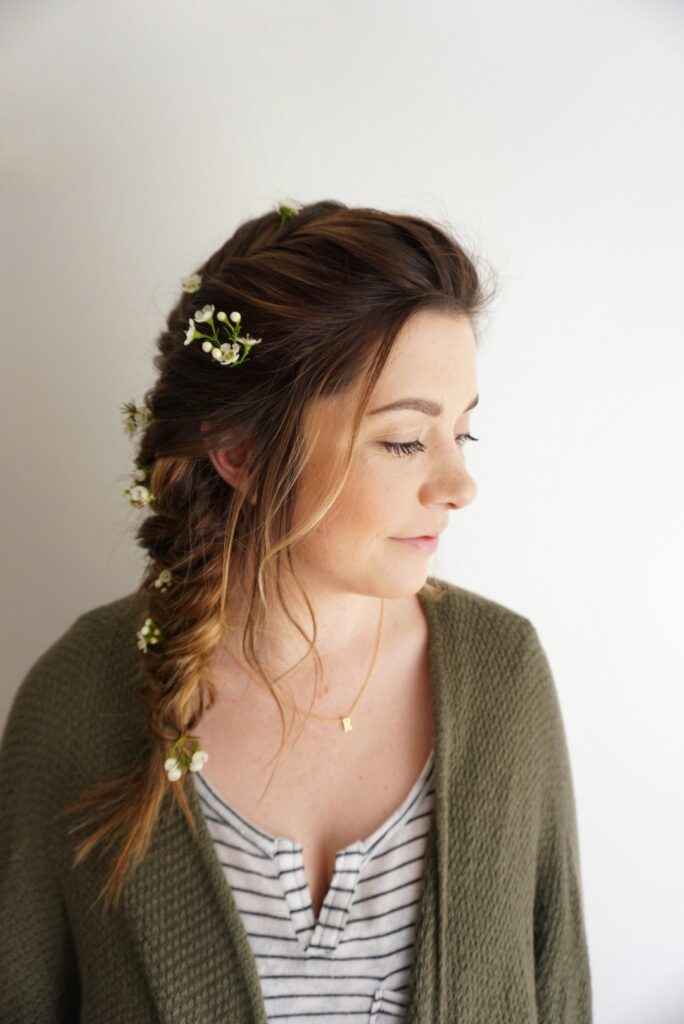 Fishtail |Braid | Flowers for Hair
