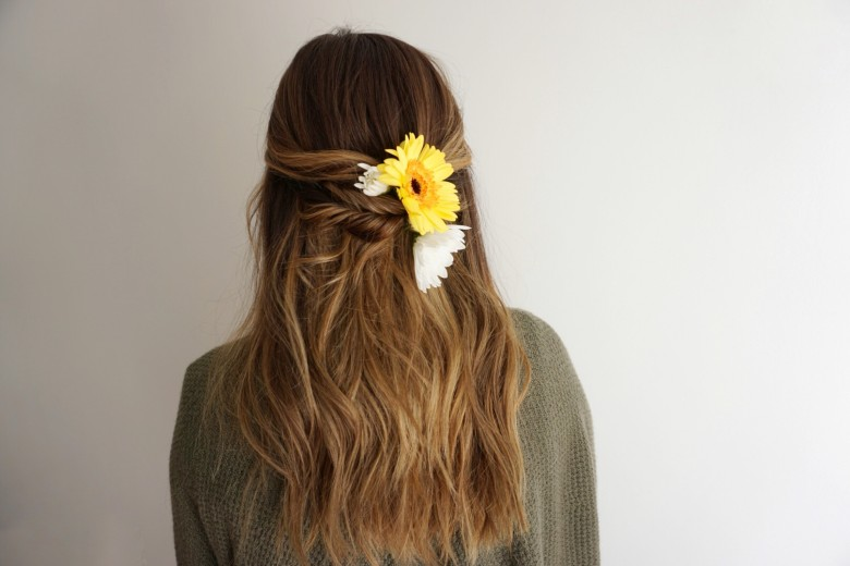 Half Up Hair   Twists   Flowers for Hair