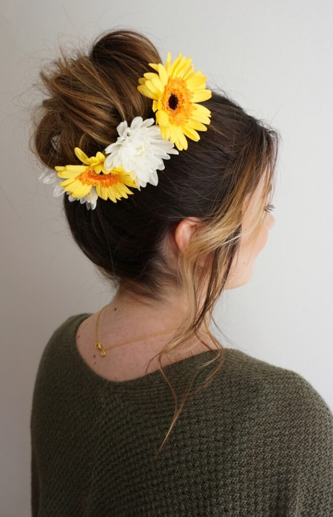 Flower child hair cute girls hairstyles messy bun flower crown bun mightylinksfo