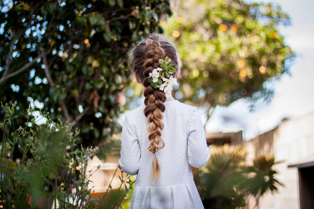 spring braids with flowers