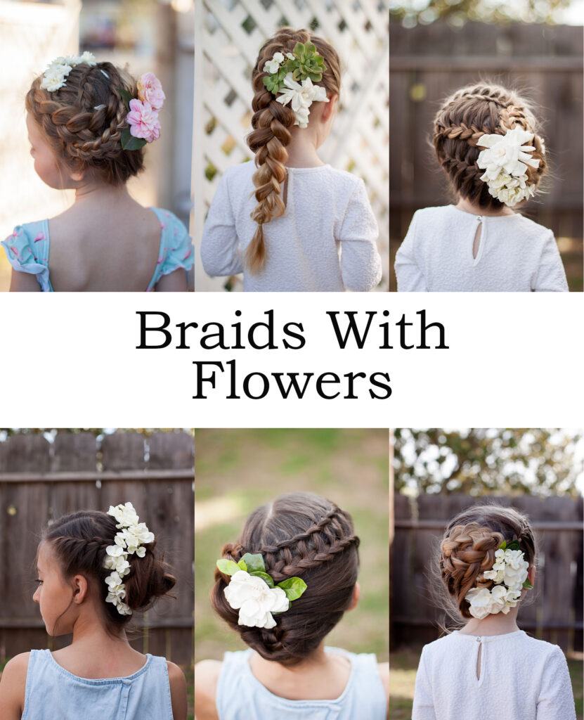 Spring braids with fresh flowers