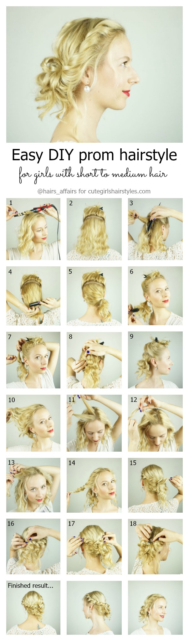 Easy DIY prom hairstyle for girls with short to medium hair