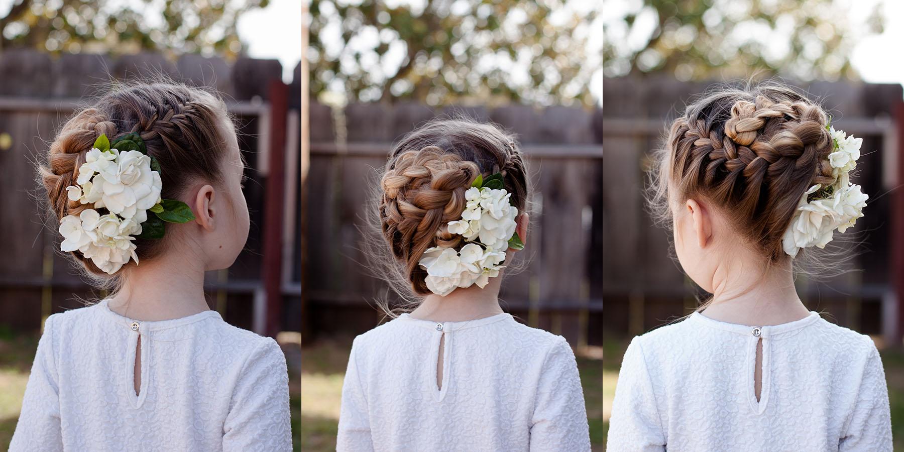 Прически для девочек с цветами фото