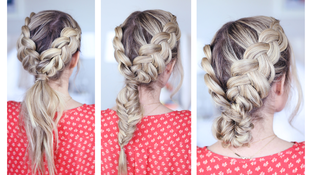 Watch Easy DIY Dutch Braid Into A Fishtail Hairstyle video