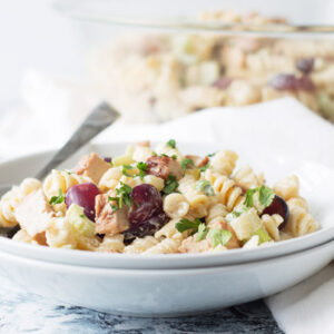 Grilled Chicken Pasta Salad that is simple to make and full of flavorful tender chicken, sweet grapes, crisp celery and pineapple!