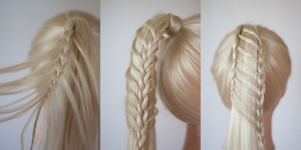 double ladder braided ponytail