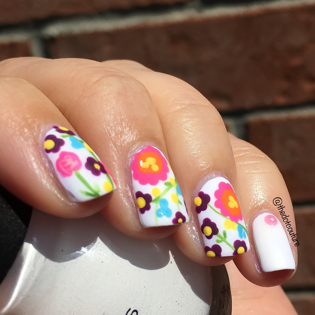 spring floral freehand nail art