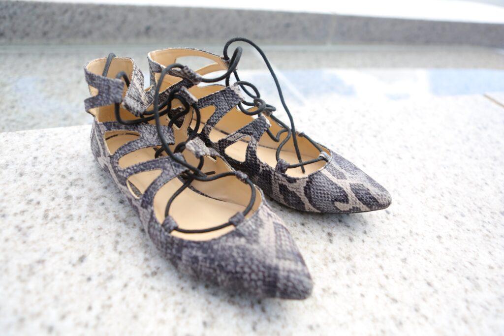 Lace up ballet flats   snakeskin