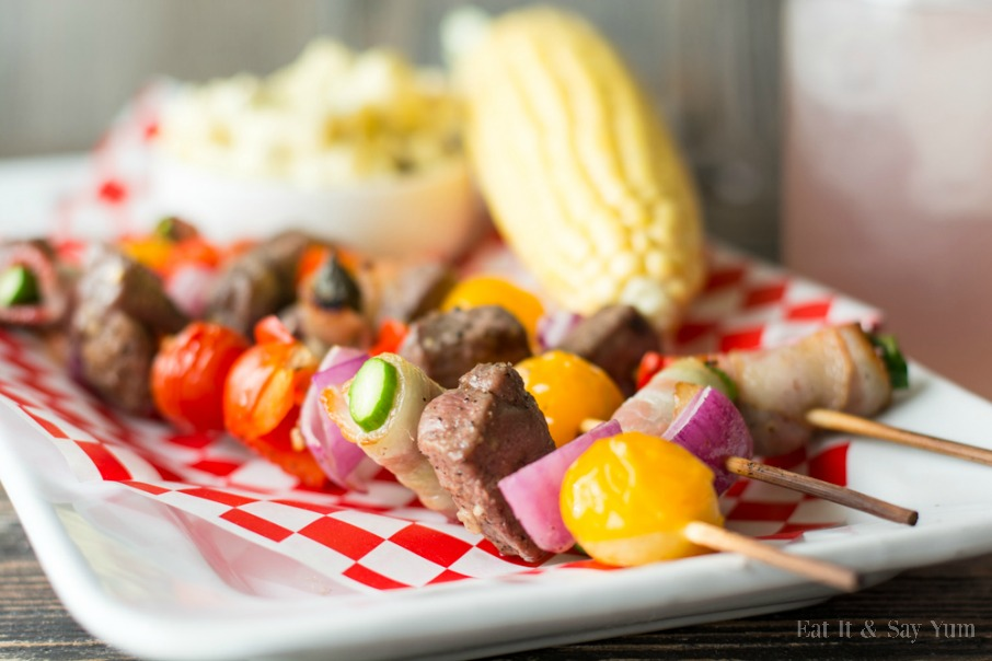 Summer Kabobs- with veggies, beef, and bacon wrapped asparagus