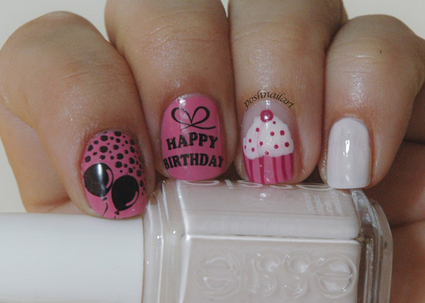 Birthday Nails with cupcake