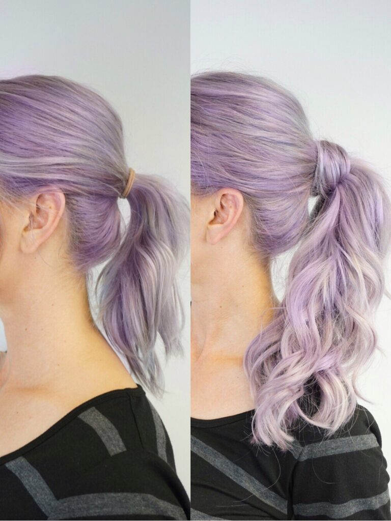 Side-by-side image showing the difference between regular ponytail and a styled ponytail
