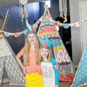 Bohemian tribal girls with teepee