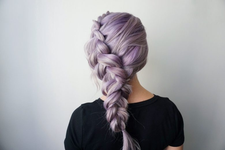 Purple Hair | Dutch Braid | Side Braid | Hair Extensions | Clip-in Hair Extensions