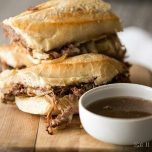 Roast Beef Sandwiches that are made like a long sub- perfect for sharing at football parties