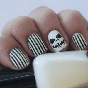 Jack Skellington inspired Halloween nails