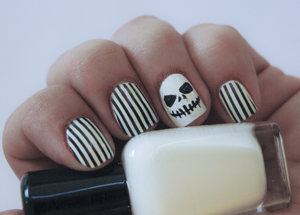 Jack Skellington inspired Halloween nails