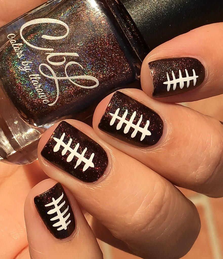 thanksgiving nail art football holographic