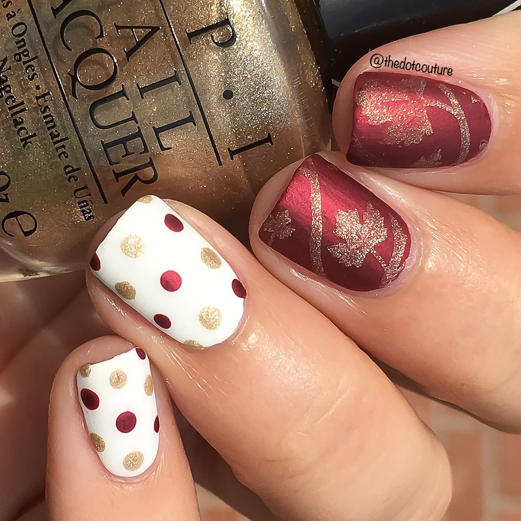 thanksgiving nail art sweater weather red gold polka dots