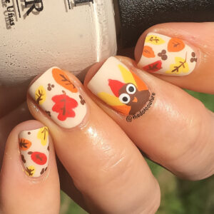 thanksgiving nail art turkey nails autumn leaves