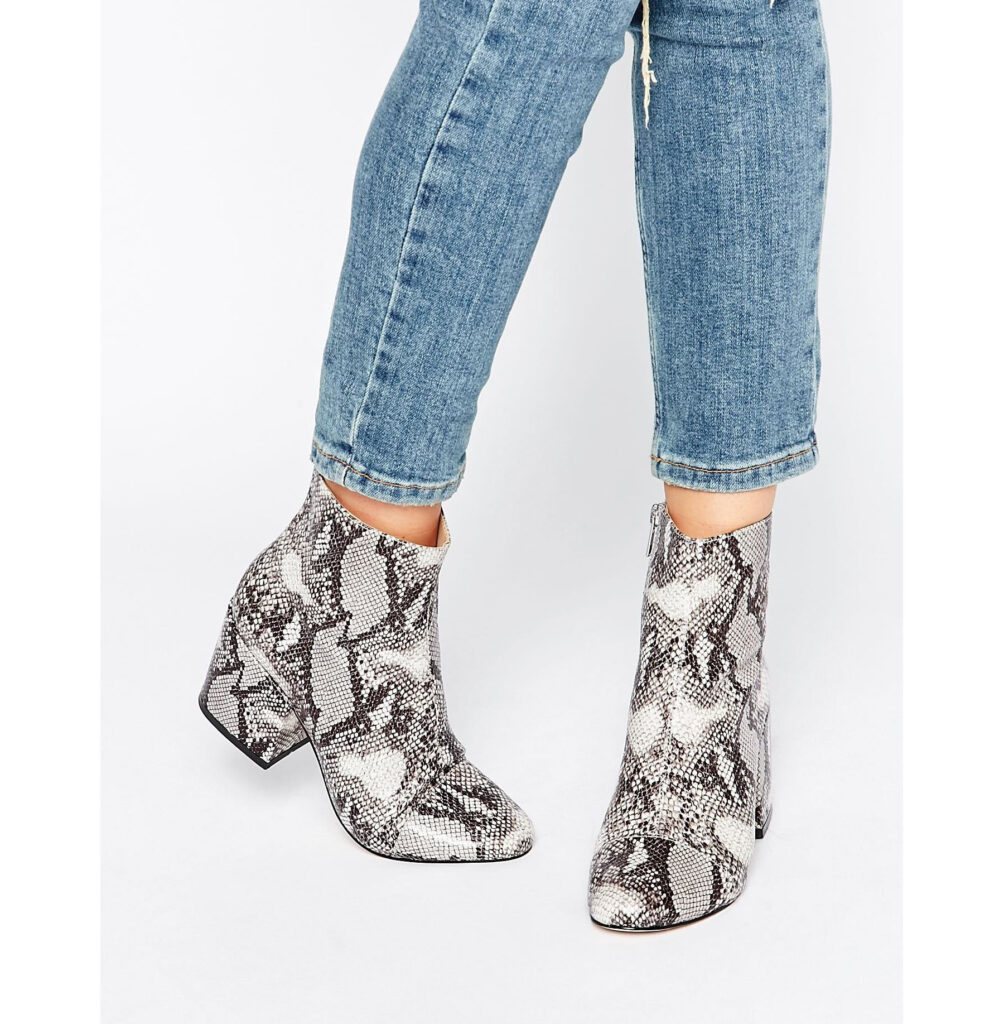 Office Ant Snake Print Heeled Ankle Boots