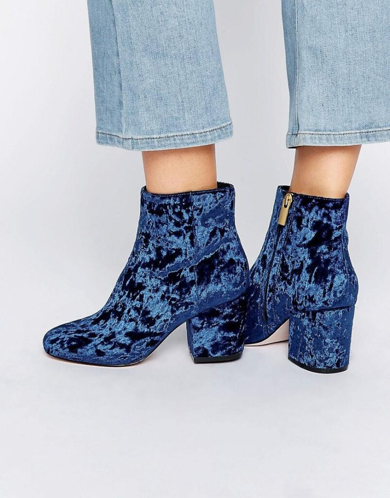 Navy Velvet Ankle Boot | CGH Lifestyle