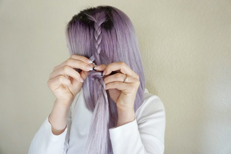 Braid | Purple Hair | Lavendar Hair | Securing Braids | Hair DIY