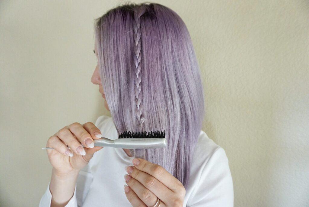Braid   Purple Hair   Lavendar Hair   Securing Braids   Hair DIY   Teasing Comb