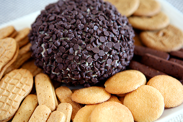 Chocolate Chip Cheese Ball surrounded by an assortment of cookies | Cheese Ball Recipes