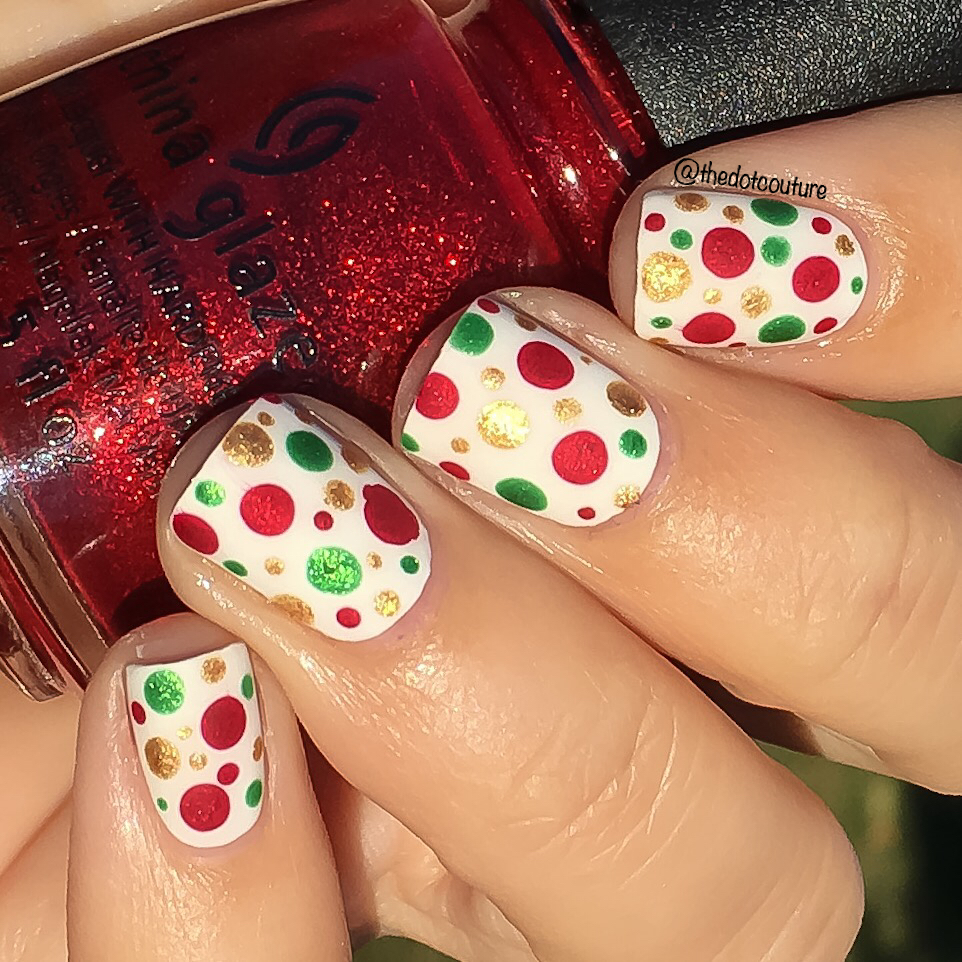 Holiday Nail Art with red, white, and green polka dots
