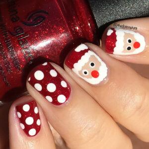 Santa inspired red painted nails