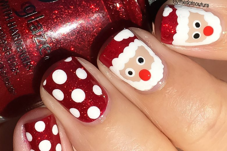 Christmas Holiday Nail Art Manicure santa polka dots