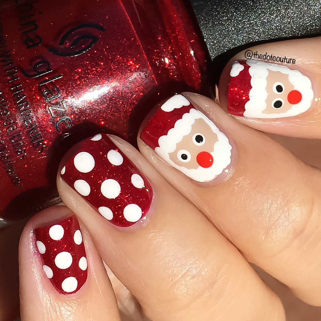 Santa inspired red painted nails