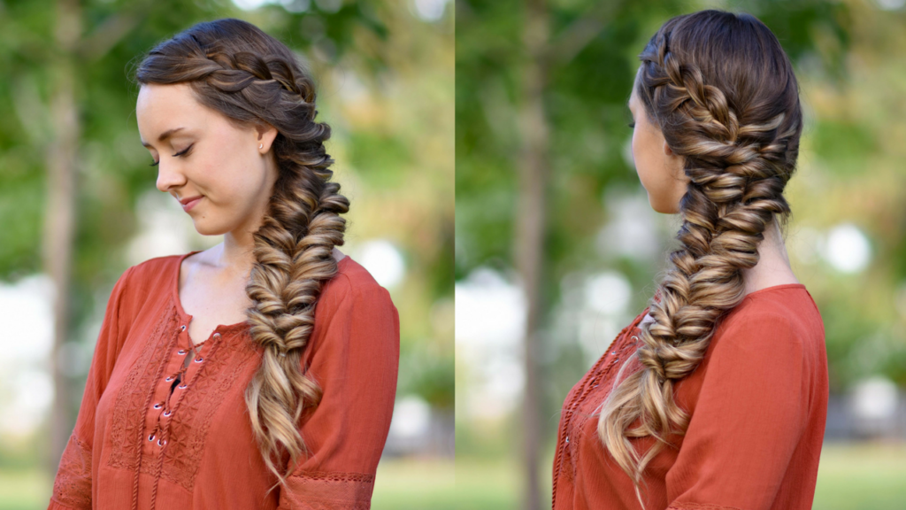 """Side-by-Side of girl standing outside modeling """"Side Elastic Braid"""" hairstyle 