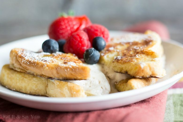 Eggnog French Toast with a spiced cheesecake filling, so delicious and perfect for the holidays