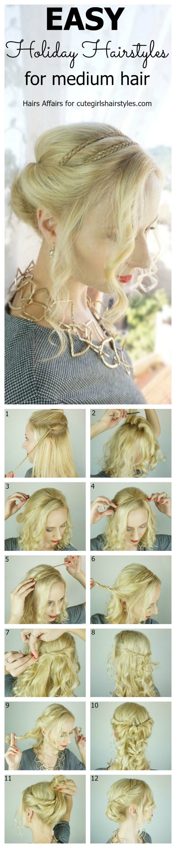 10-step how-to graphic on Easy Holiday Hairstyle