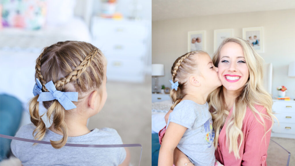 "Side-by-side (Left) Little girl sitting in her room modeling ""Criss Cross Pigtails"" hairstyle (right) Daughter kisses her mom on the cheek while mom smiles"