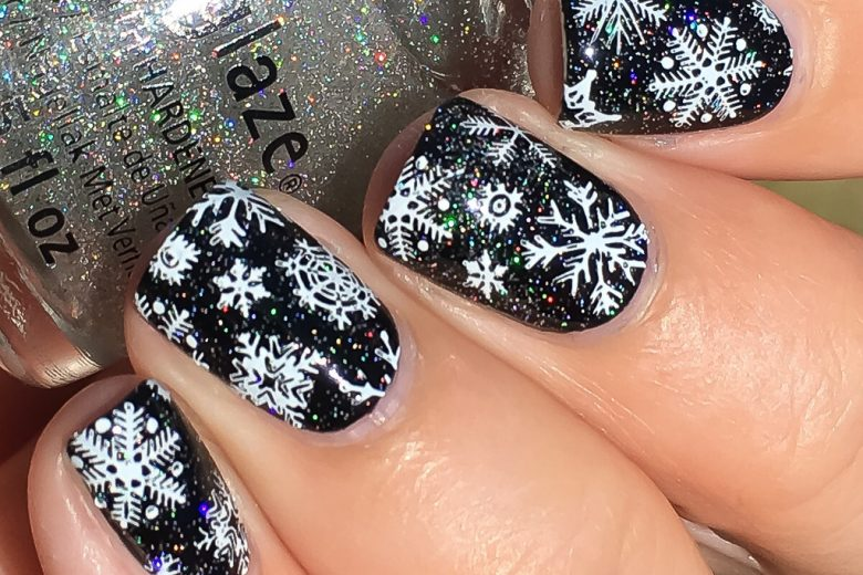 Winter Wonderland Nail Art Holographic Snowflakes Black and White