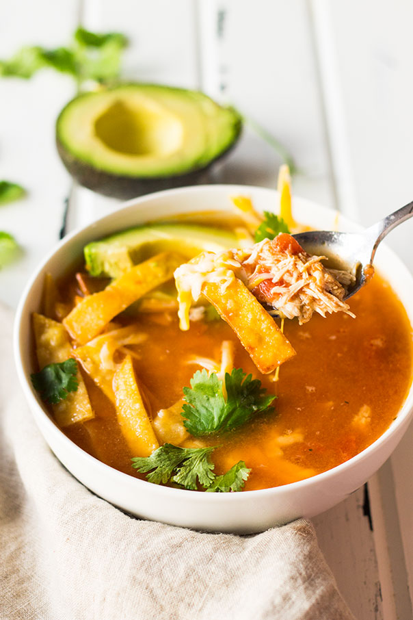 Chicken Tortilla Soup served in a white bowl with a spoon