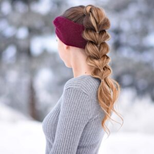 "Side view of girl with long hair wearing a red headband modeling ""Pull Thru Ponytail"" hairstyle"