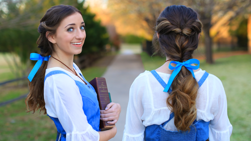 "Side-by-side view, (left) girl in a halloween costume holding books (right) back view of ""Belle Ponytail"" hairstyle"