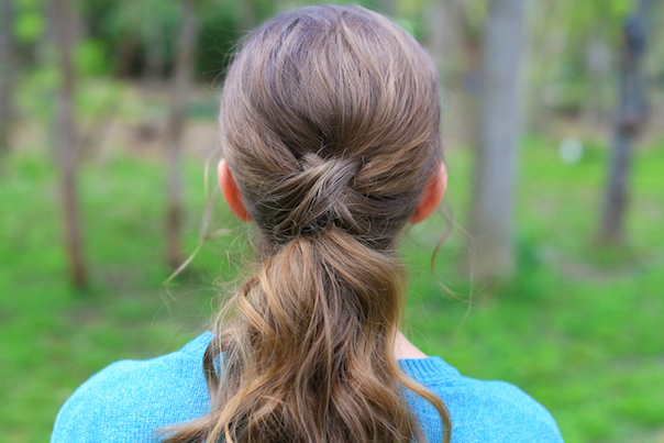 "Close up view of ""Criss Cross Ponytail"" hairstyle"