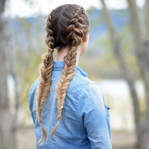 "Back view of girl wearing a blue shirt standing outside modeling ""Double Dutch Fishtails"" hairstyle"