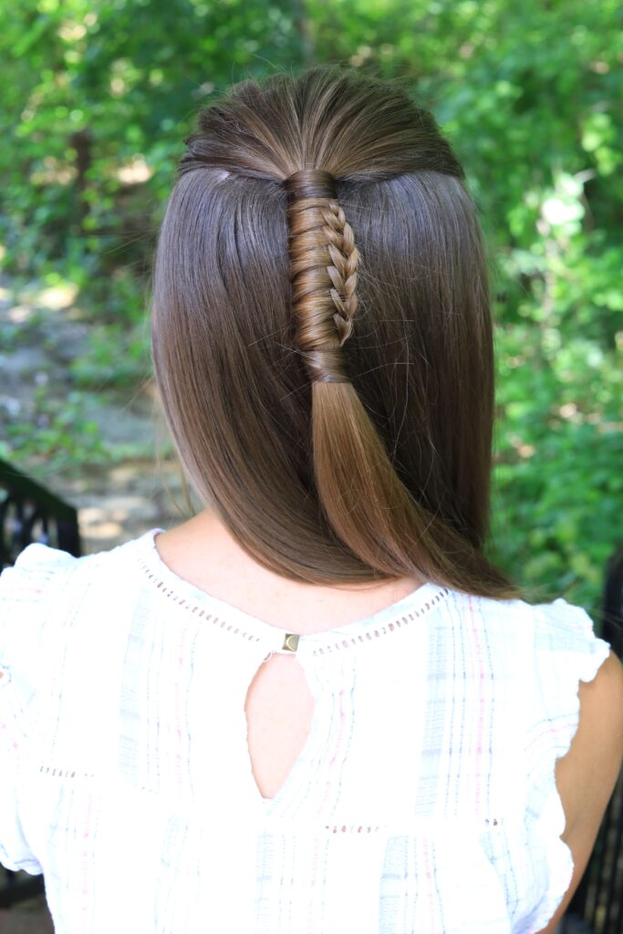 "Back view of girl with long hair modeling ""Reverse Chinese Ladder"" hairstyle"